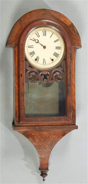 Inlaid Mahogany Wall Clock, 19th c., the arched top