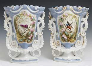 Pair of Old Paris Porcelain Flare Vases, 19th c., with