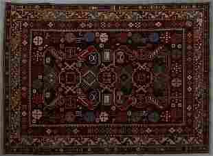 Semi-Antique Azerbaijan Caucasian Kazak Carpet, 5' x 6'