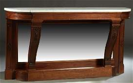 French Empire Carved Mahogany Marble Top Console Table,
