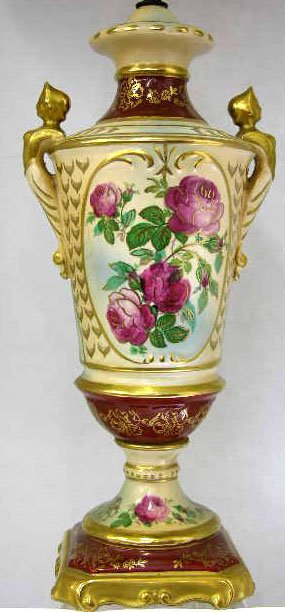 5: Ceramic Empire Style Table Lamp, c. 1920, of urn for