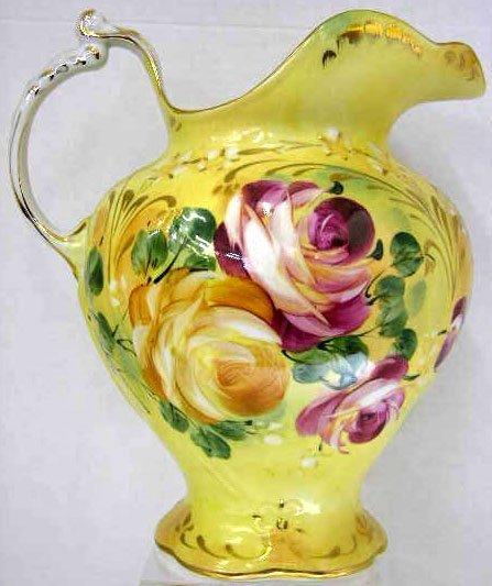 6: Large Porcelain Pitcher, 20th c., with floral decora