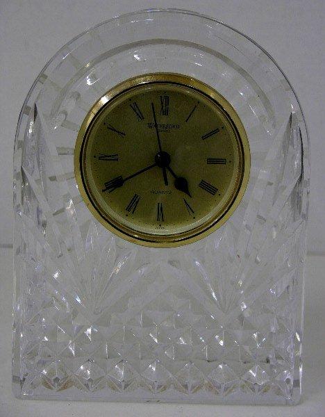 14: Waterford Crystal Quartz Desk Clock, 20th c., of ar