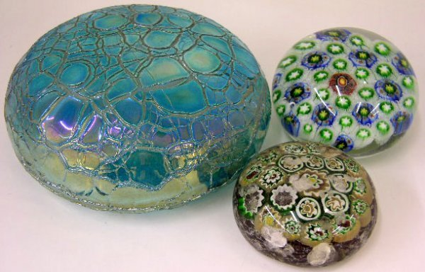 15: Group of Three Paperweights, 20th c., two millefior