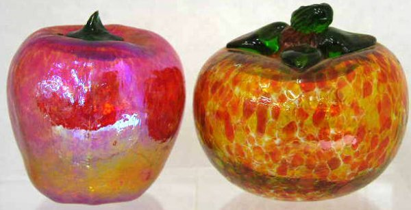 16: Two Blown Glass Paperweights, 20th c., one of apple