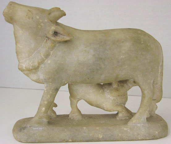 18: Hindu Carved Alabaster Figural Group, 19th c., of a