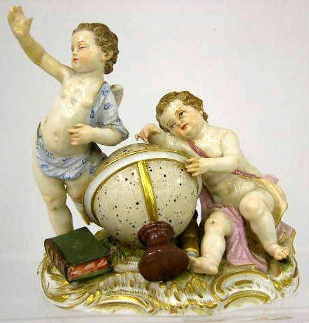 36: Meissen Porcelain Figural Group, 19th c., of cherub