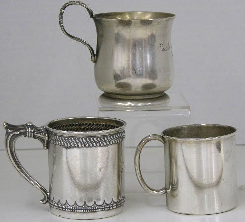 290: Three Sterling Baby Cups, 20th c., Two by Reed and