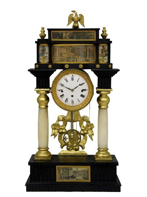 436: Unusual French Ebonized Portico Clock, early 19th