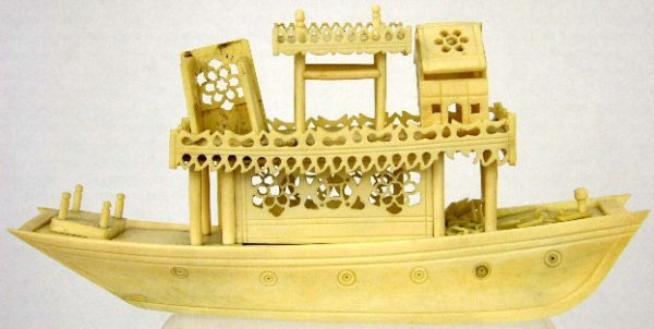 753: Chinese Carved Ivory Boat, early 20th c., as found