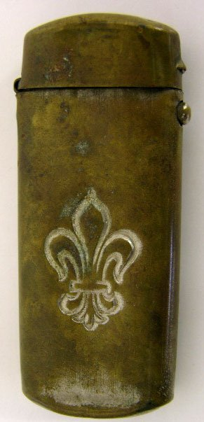 760: Brass Match Safe, c. 1890, one side with an incise