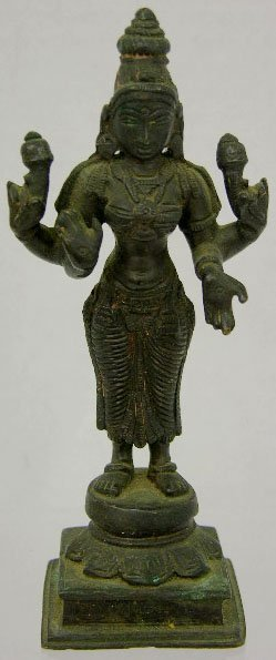 763: Indian Bronze Shiva Figure, 19th c., on a stepped
