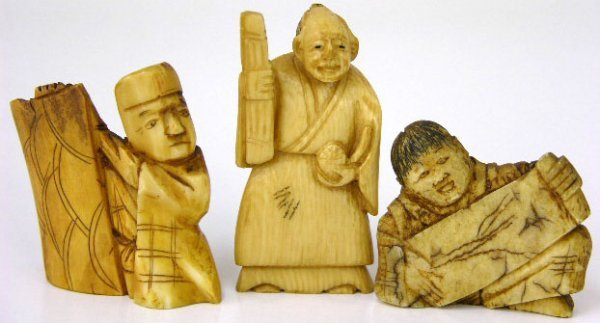 764: Three Chinese Carved Ivory Male Figures, early 20t