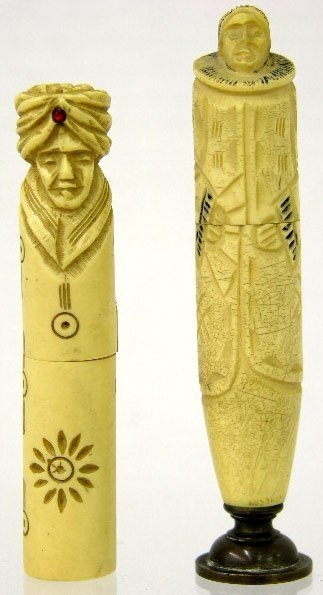 765: Two Carved Ivory Figural Needle Cases, early 20th