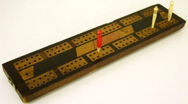 771: Inlaid Mahogany Cribbage Board, 19th c., the sides