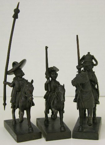 772: Group of Three Miniature Bronze Equestrian Soldier