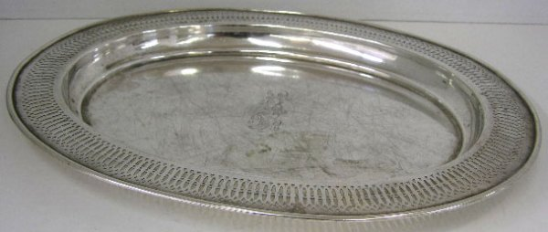 773: Sterling Oval Reticulated Tray, 20th c., by Whitin