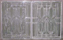 797 Pair of Leaded Beveled Glass Panels 20th c with