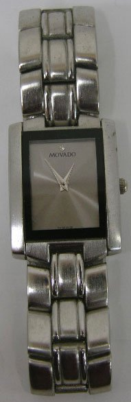 984: Man's Rectangular Movado Steel Wristwatch, with a