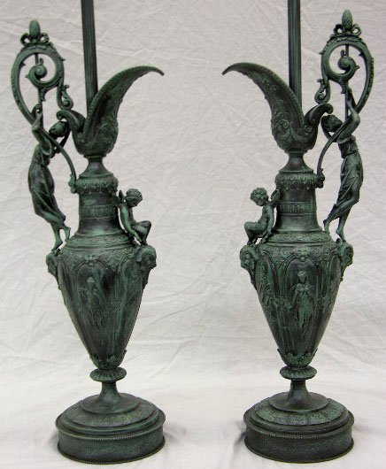 3: Pair of Large Patinated Spelter Ewers, late 19th c.,