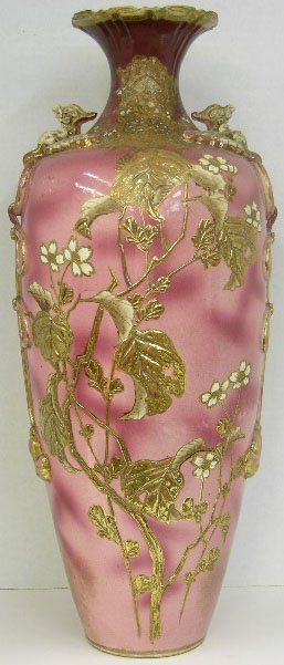 4: Large Pink Satsuma Vase, 19th c., of tapering form,