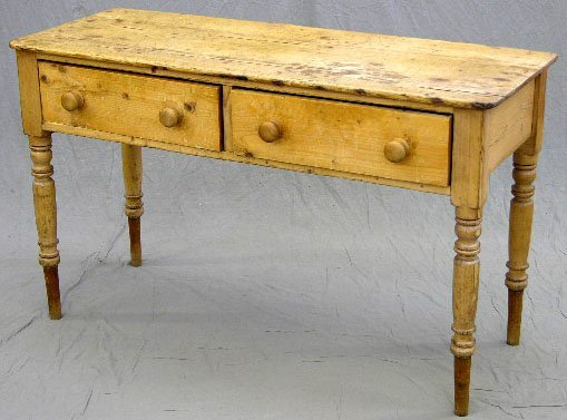 5: English Carved Pine Console Table, 19th c., with two