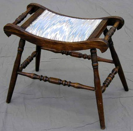 6: Diminutive Carved Birch Vanity Bench, c. 1910, with
