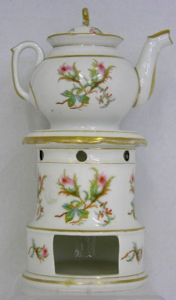 10: Old Paris Porcelain Veilleuse, 19th c., with gilt a