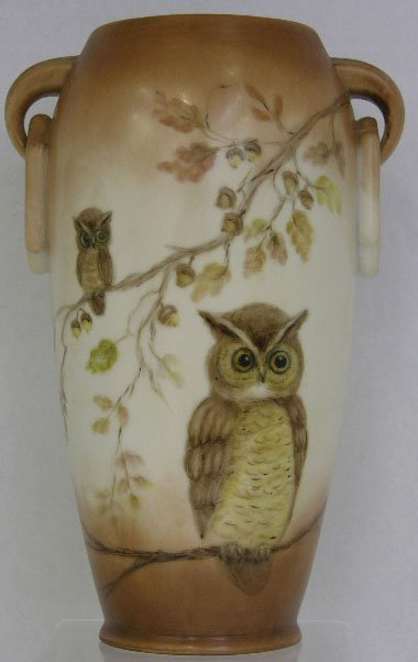 14: Hand Painted Handled Porcelain Vase, early 20th c.,