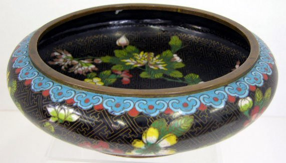 20: Oriental Cloisonne on Bronze Low Bowl, late 19th c.
