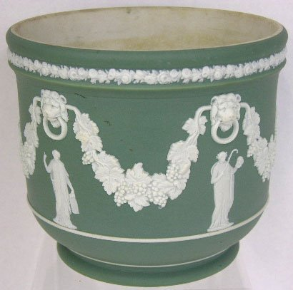 24: Green Wedgwood Jasperware Jardiniere, 19th c., the