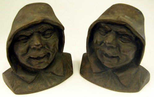 613: Pair of Bronze Patinated Cast Iron Fisherman Booke