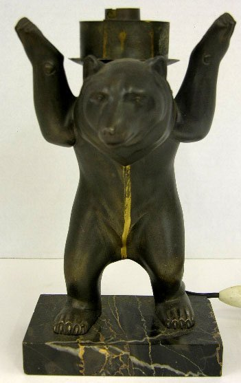 614: Unusual Art Deco Style Patinated Metal Bear Table