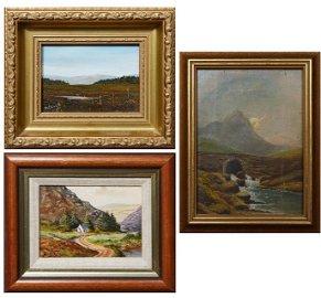"Three Miniature Irish Landscapes: Irish School, ""Bridge"