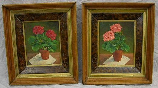"""American School, """"Geraniums,"""" 20th c., pair of oils"""