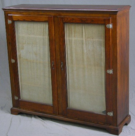 13: American Carved Oak Double Glazed Door Bookcase, c.