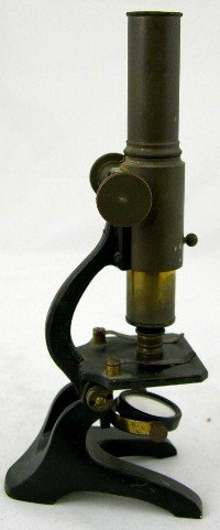 14: Brass and Iron Single Lens Microscope, 19th c., H.-