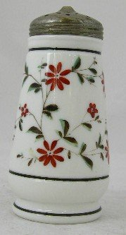 19: Victorian Hand Painted Milk Glass Sugar Shaker, 19t