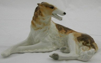 23: Russian Polychromed Porcelain Recumbent Wolfhound F