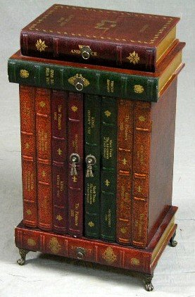 "63: Unusual Carved Wood ""Stacked Books"" End Table, 20th"
