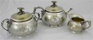 279 Three Piece Christofle Silver Plated Tea Set 19th