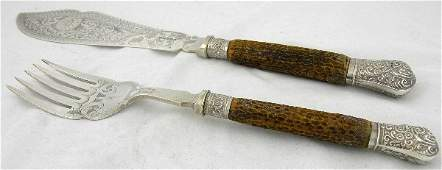 341: Victorian Two Piece Fish Serving Set, 19th c., wit