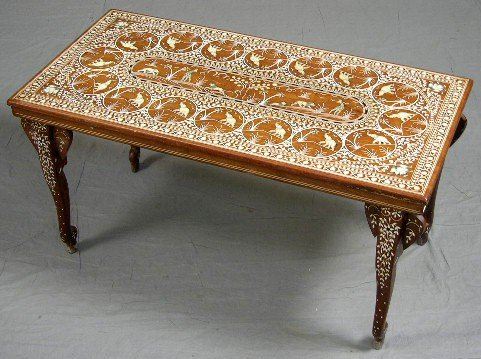 405: Indian Ivory Inlaid Carved Rosewood Coffee Table,