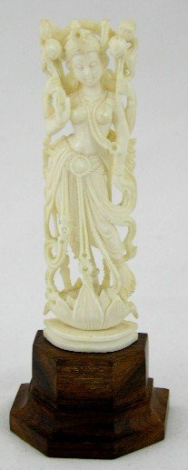 631: Oriental Carved Ivory Figure of a Goddess, 20th c.