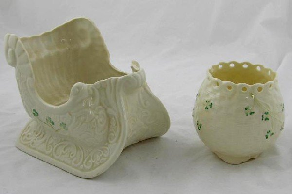 7:  Two Pieces of Belleek Pottery, a sleigh cent
