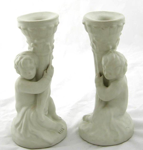 11:  Pair of White Van Briggle Pottery Putto Can