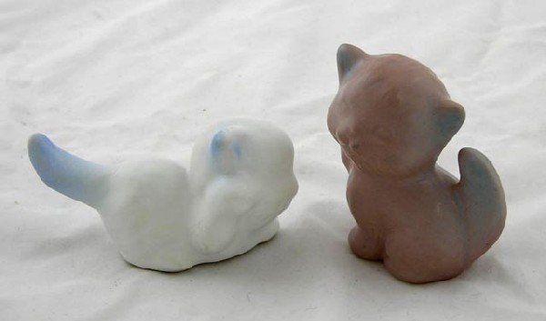 12:  Two Van Briggle Pottery Cat Figures, one in