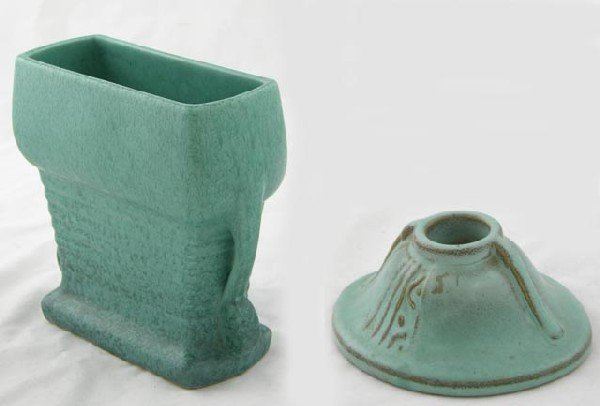 "13:  Two Pieces of Roseville Pottery- a green ""M"