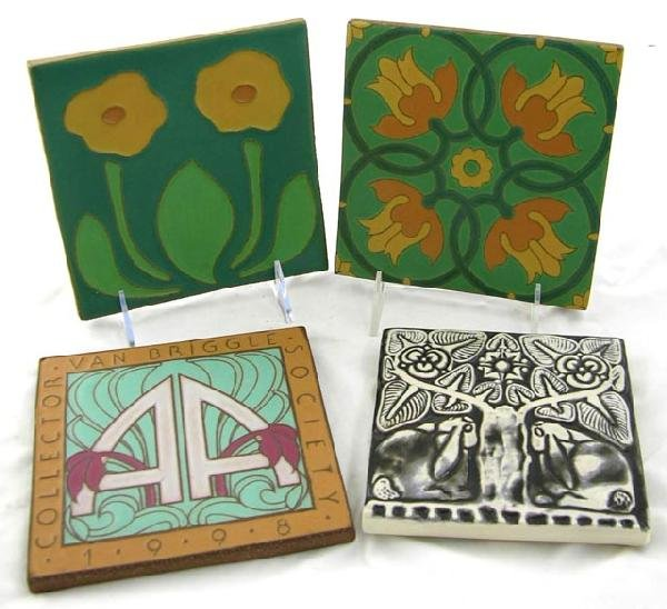 15:  Group of Four Pottery Tiles- 2 Van Briggle,