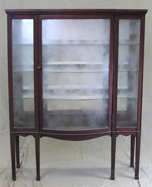 18:  Carved Mahogany Curved Glass Curio Cabinet,